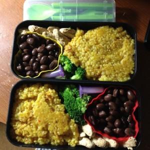 Thai Rice, black beans, gardein chick'n strips, broccoli, and salt