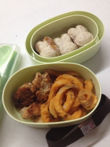 Today's bento was lefto over curly fries, fried vegan chick'n and bunny shaped peanut butter and jelly sandwiches!